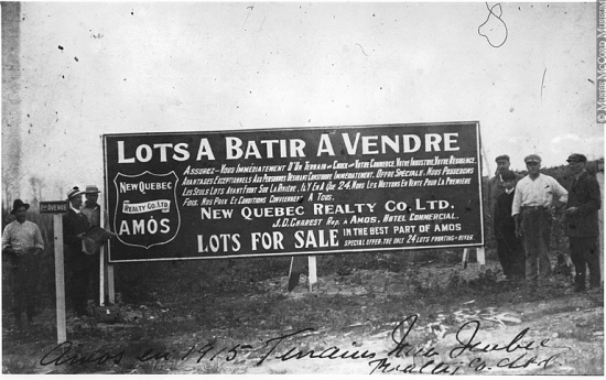 Lots à vendre à Amos en 1915 !
